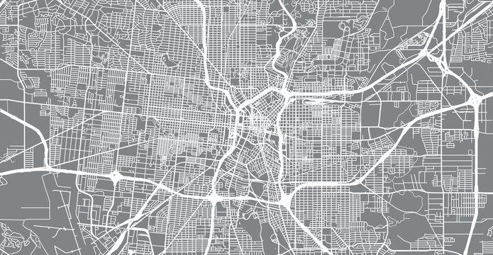 Urban vector city map of San Antonio, Texas, United States of America