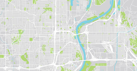 Urban vector city map of Omaha, Nebraska, United States of America