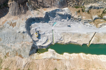 Quarry for the extraction of gypsum. Extraction of minerals by the open method. Aerial view