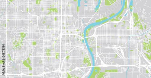 Urban Vector City Map Of Omaha Nebraska United States Of America