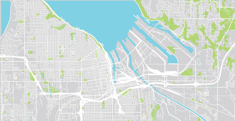Urban vector city map of Tacoma, Washington, United States of America