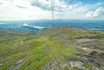 Swedish mountains in summer - cabin lift view