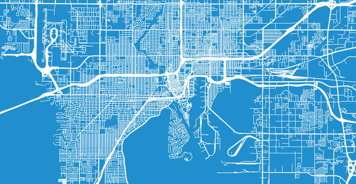 Urban vector city map of Tampa, Florida, United States of America