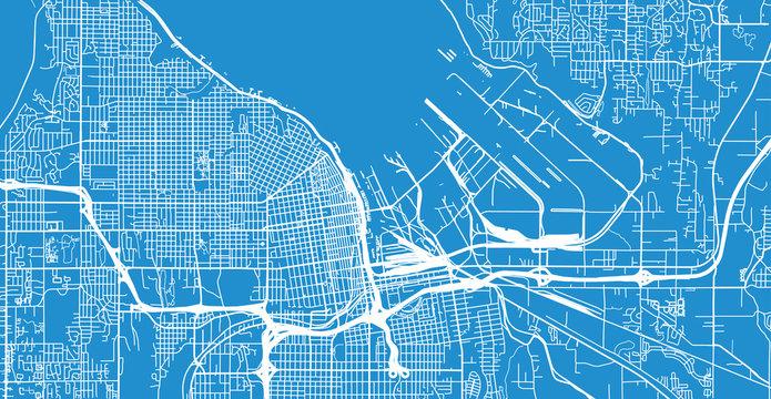 Urban vector city map of Tacoma, Washington, United States of America