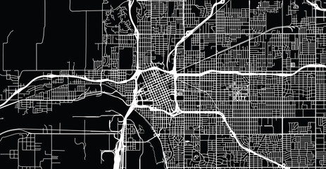 Urban vector city map of Tulsa, Oaklahoma, United States of America
