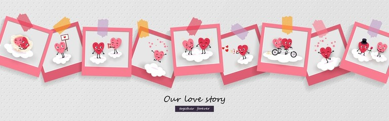 Love story, photograph, pair hearts, Valentines Day, Wedding, Vector