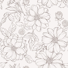 Seamless pattern with dahlia flowers.  Hand-drawn contour lines and strokes.