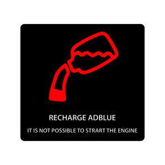 warning dashboard car icon, recharge adblue it is not possible to start engine