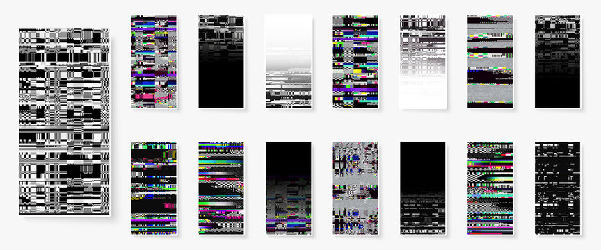 Glitch backgrounds set. Smartphone screen error wallpapers. Digital pixel noise abstract design. Device signal fail. Gadget data decay. Trendy backdrop. Monitor technical problem.