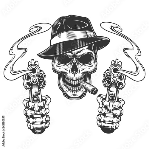 e33508d07ac06 Vintage monochrome gangster skull smoking cigar