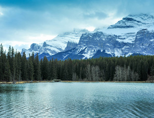 Fotobehang Canada Backside of Mount Rundle seen from Johnson Lake, Banff Alberta