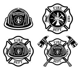 Fototapeta Fire Department Cross and Helmet Designs  is an illustration of four fireman or firefighter Maltese cross design which includes fireman's helmet with badges and firefighter's crossed axes.