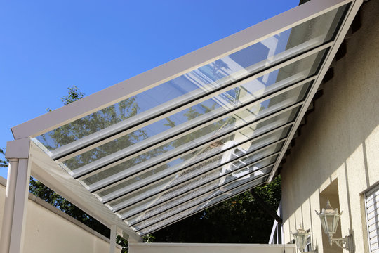 High-quality canopy made of stainless steel and glass