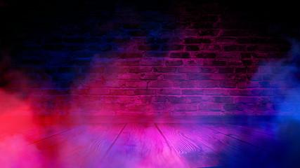 Fotomurales - Brick wall, neon light, smoke. Empty dark background with smoke, multicolored smoke.