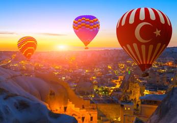 Poster Ballon hot air balloon flight over Cappadocia Turkey