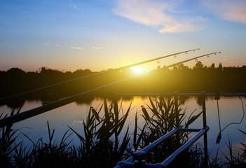 Spring river carp fishing sunrise