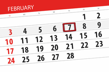 Calendar planner for the month february 2019, deadline day, 7, thursday