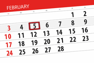 Calendar planner for the month february 2019, deadline day, 5, tuesday