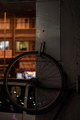 bike hanging on the night street