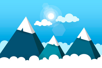 Three Paper Mountains In White Clouds Sunny Day Vector