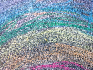 Closeup of painting palette, texture painting with multi-colored crayons
