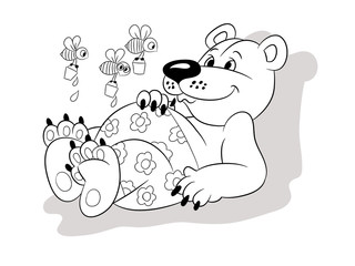 Illustration of a cartoon sweet little bear with bees, contour