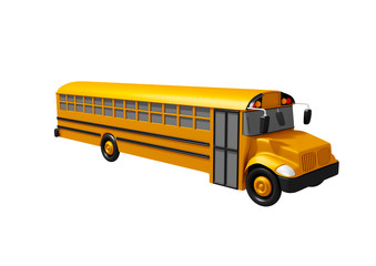 School bus isolated on white background. Back to school concept.