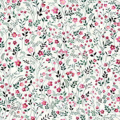 seamless floral pattern with meadow flowers white background