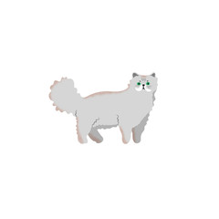 Cute character cartoon style of cat. Icon of persian breed for different design.
