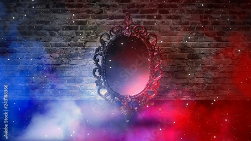 Mirror Magical Fortune Telling And Fulfillment Of Desires Brick Wall With Thick Smoke