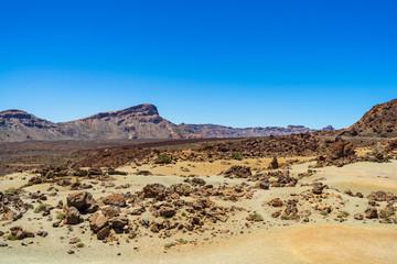 The lava fields of Las Canadas caldera of Teide volcano. Viewpoint: Minas de San Jose. Tenerife. Canary Islands. Spain.