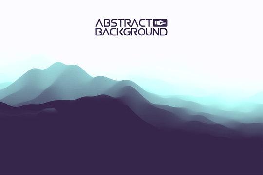 3D landscape Abstract blue Background. Blue Gradient Vector Illustration.Computer Art Design Template. Landscape with Mountain Peaks