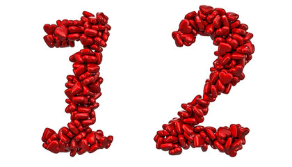 1, 2 numbers from red hearts, 3D rendering