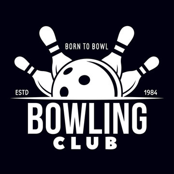 Vector vintage monochrome style bowling logo, icon, symbol. Bowling ball and bowling pins illustration. Trendy design elements.