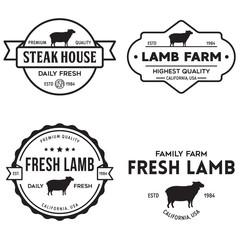Set of premium lamb labels, badges and design elements. Logo for butchery, meat shop, steak house, farm etc.