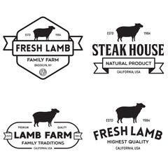 Set of premium lamb labels, badges and design elements. Logo for butchery, meat shop, steak house, farm etc.