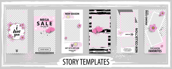 Trendy editable template for social networks stories, valentine vector illustration.