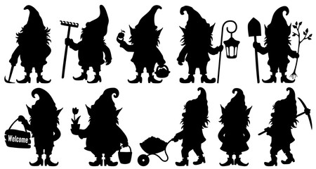 Silhouette fantastic gnome in the garden and in search of treasure. Laser cutting poses fairytale dwarf elf. Isolated vector illustration on white background.