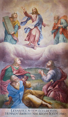 Trnava, Slovakia. 2018/4/12. The painting of the Transfiguration of Jesus. Moses and Elijah appear next to him in front of Peter, James, John the desciples. The Saint John the Baptist  cathedral.