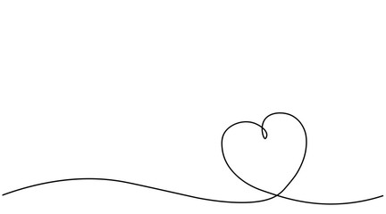 Heart background or card, valentines day banner one line, vector illustration.