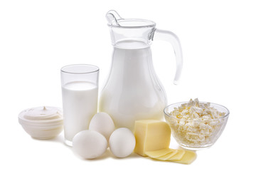 Dairy products on white background. Milk, cottage cheese, sour cream, cheese, butter, eggs, still life from healthy dairy products. Dairy nutrition is good for children's health.