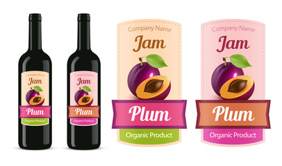 Plum Jam Sticker label isolated on white and trying on a bottle - vector illustration.
