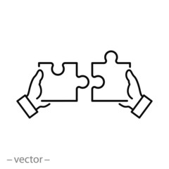 puzzle icon, teamwork concept, jigsaw linear sign on white background - editable vector illustration eps10