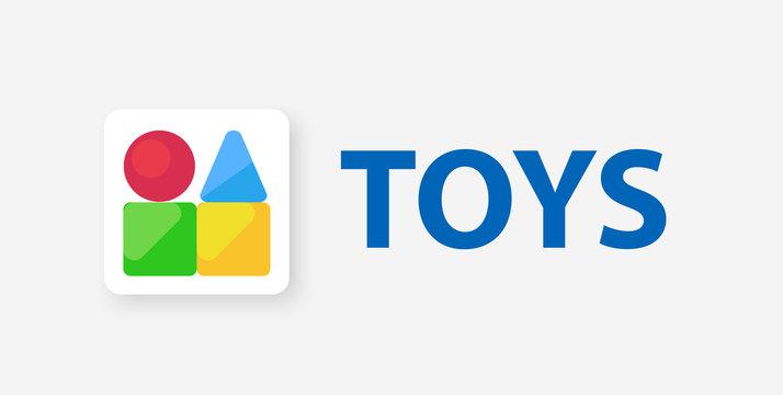 Vector logo emblem illustration for Kids toys shop or education center.