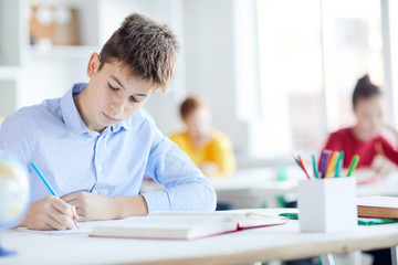Serious schoolboy with pencil making notes on paper with open book in front and classmates behind