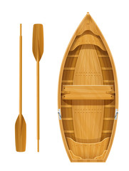 Wooden boat with paddles for fishing. River and marine