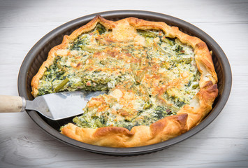 savory pie with vegetables and cheese