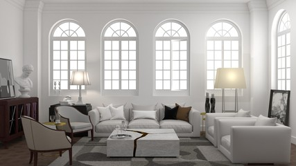 Interior design of white room with arched windows in modern classic style.