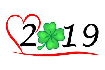 Herzliches Jahr 2019 mit Glück