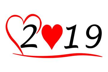 Jahr 2019 mit Herz